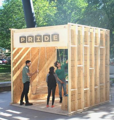 Sayyad Glassford, Rouzbeh Akhbari, and Nelly Goodarzi building the Swing Lounge