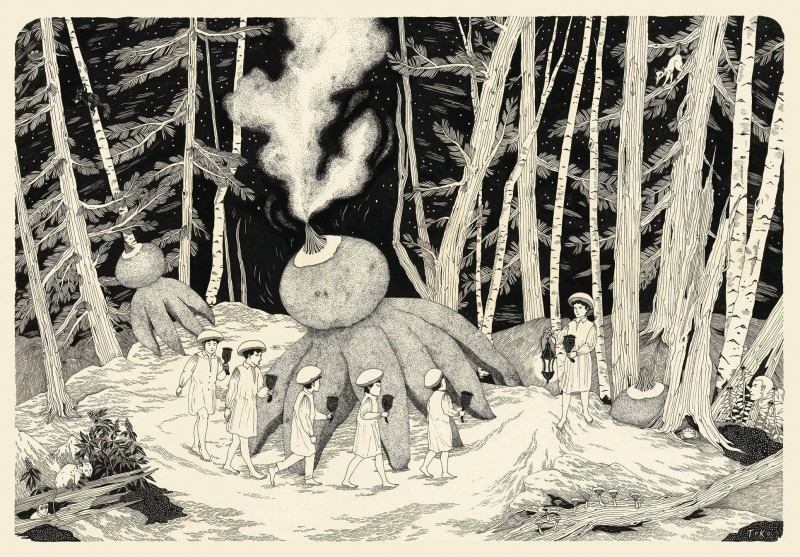 Black and while illustration of people walking in a forest with a strange octopus-like shape