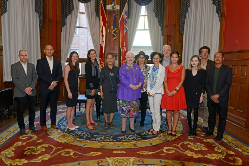 Group photo of artists and Lieutenant Governor Elizabeth Dowdeswell