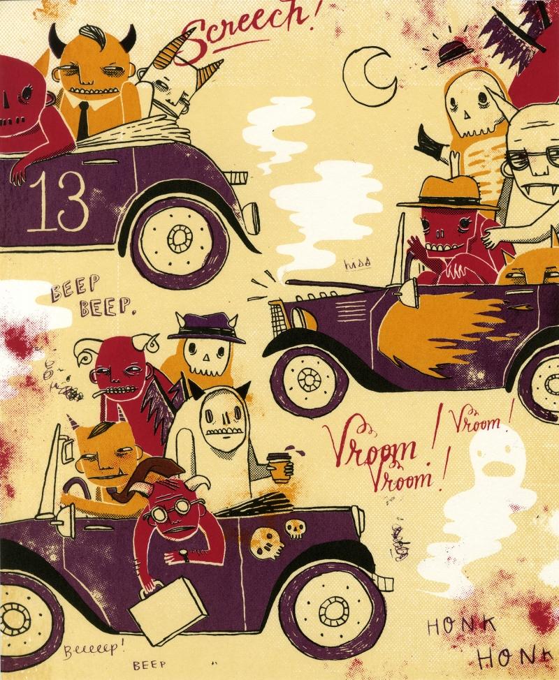 Illustration called Carpooling by artist Heidi Berton