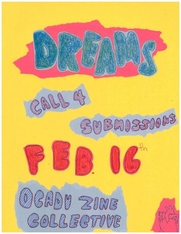 dreams, call 4 submissions, feb 16, ocadu zine collective