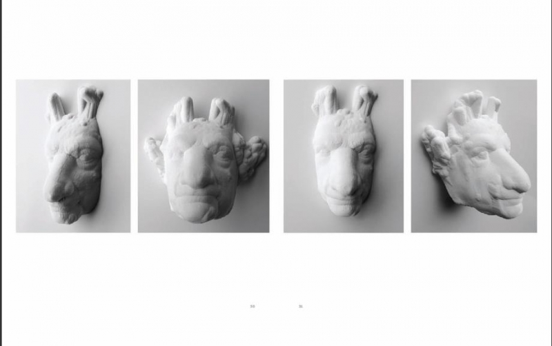 Animalesque mask-like sculptures made in white, hanging on a wall.