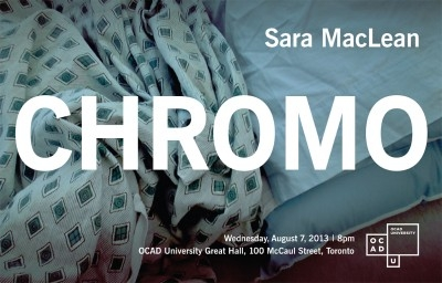Sara Maclean CHROMO poster with event info overtop photograph of bedspread