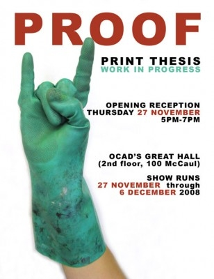 """PROOF print thesis work in progress poster with event info and photo of hand wearing glove doing """"devil horns"""" gesture"""