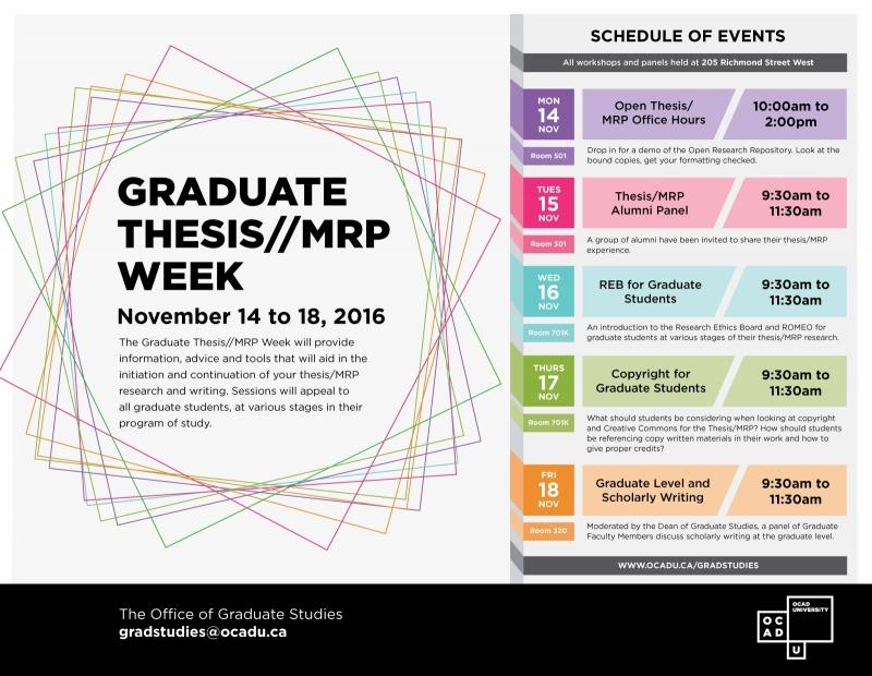 Grad thesis/MRP week poster