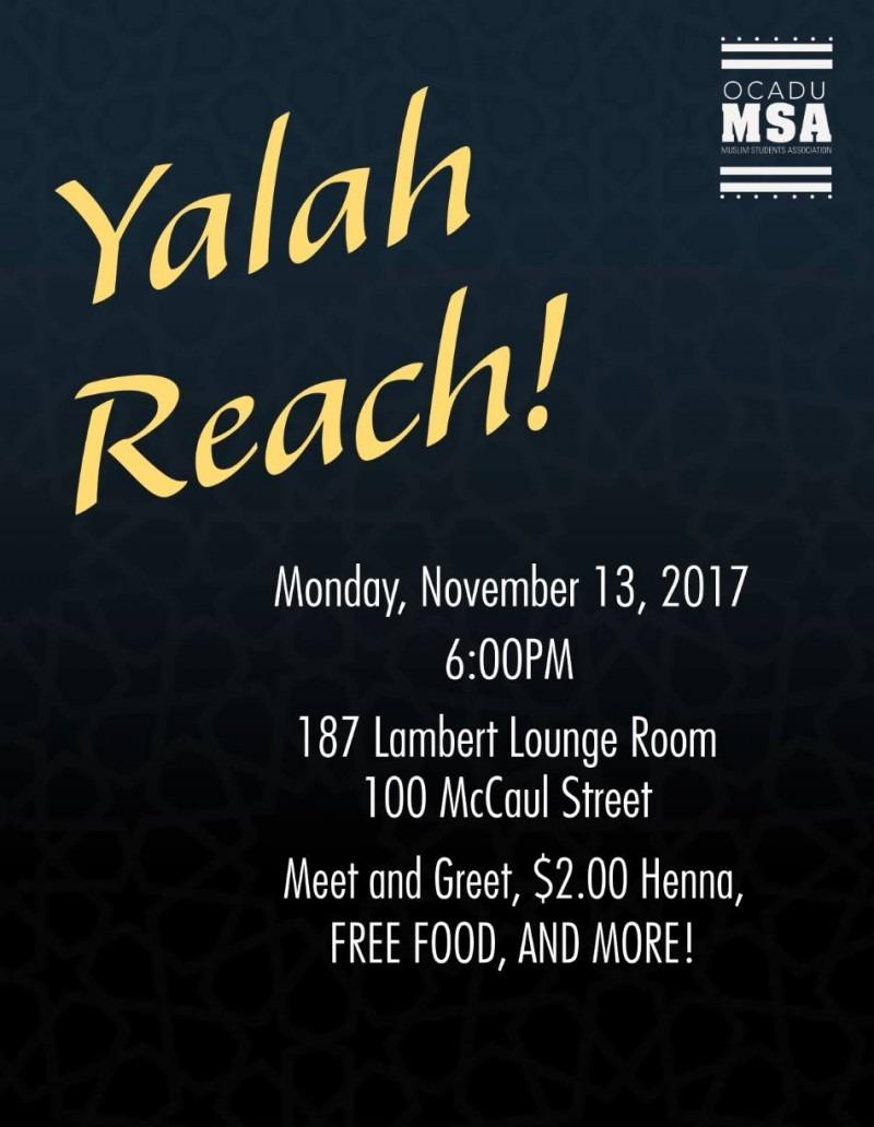 Yalah Reach! Muslim Student Ass'n poster graphic