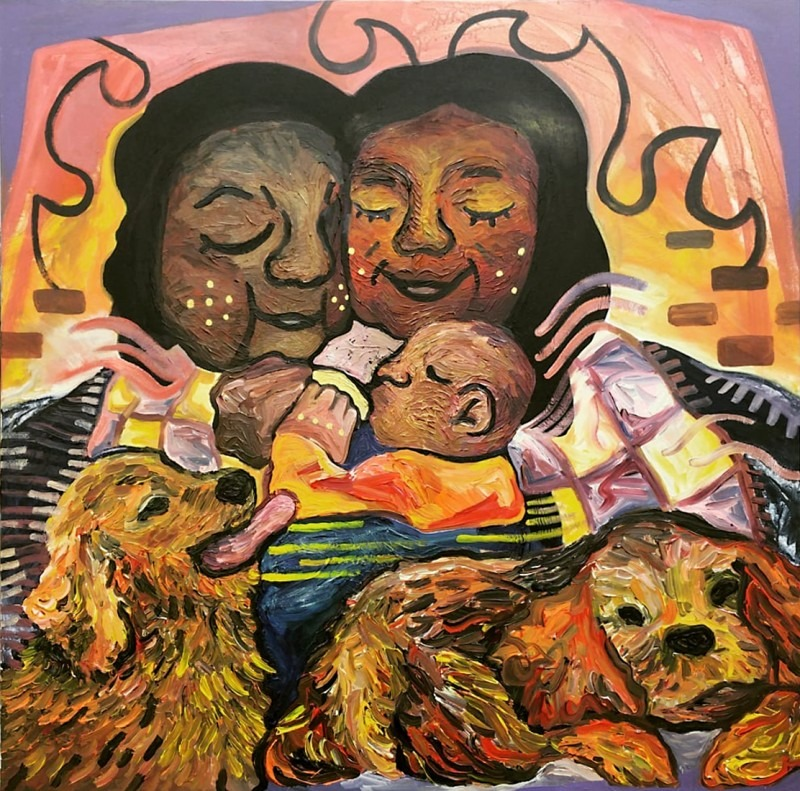 Photograph of painting in colour with two females, one baby and two dogs sitting by the fire.