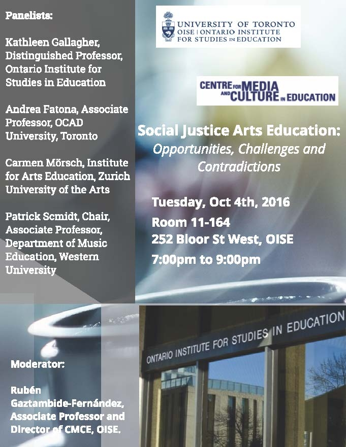 Event poster for Social Justice Arts Education
