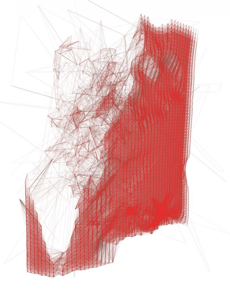abstract artwork, red trajectory lines on white background