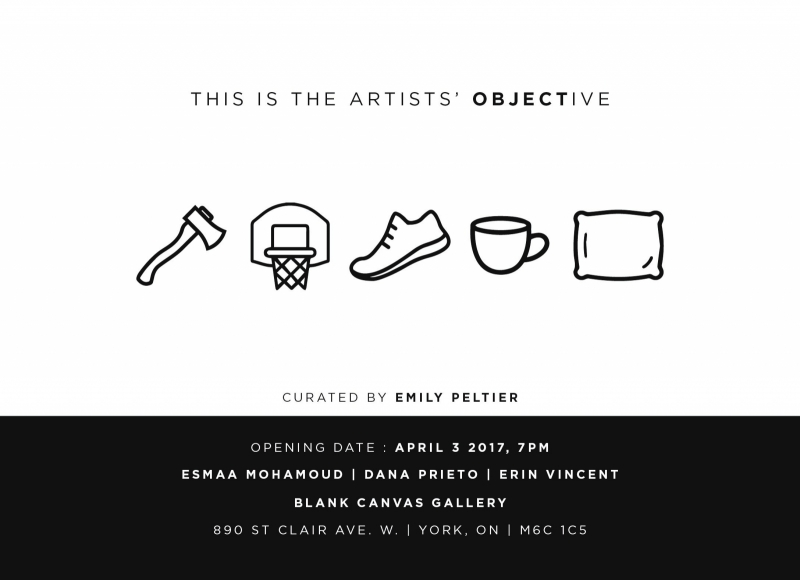 exhibition poster with text and black and white icons of miscellaneous objects