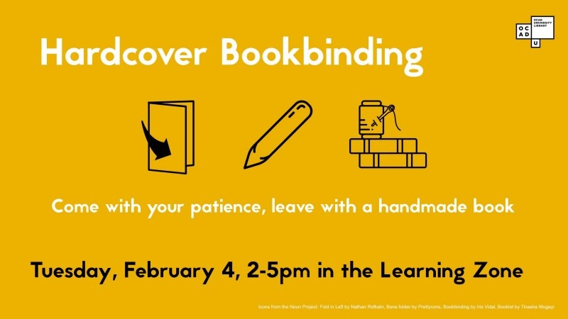 Event info text with icons of paper folded in half, bone folder and sewing supplies