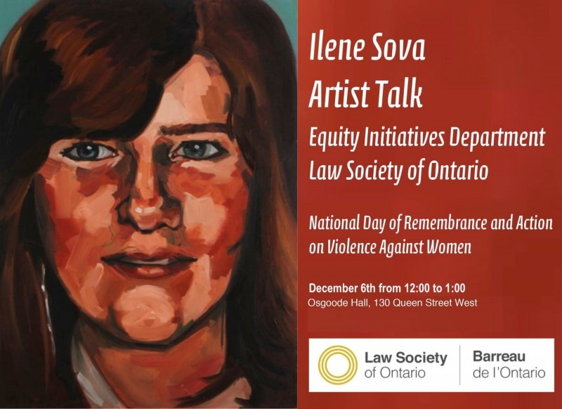 Ilene Sova Artist Talk - Law Society of Ontario, poster with painting of a woman's face