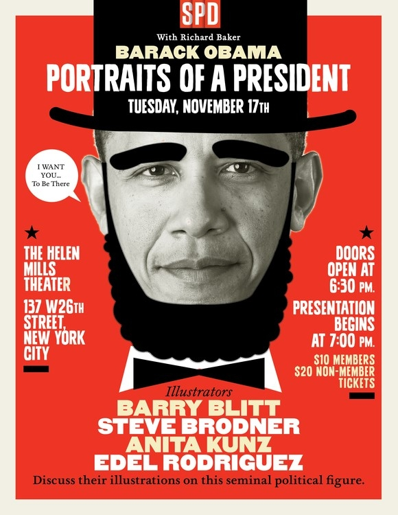 Illustration of Barack Obama with a beard and hat imitating Abraham Lincoln