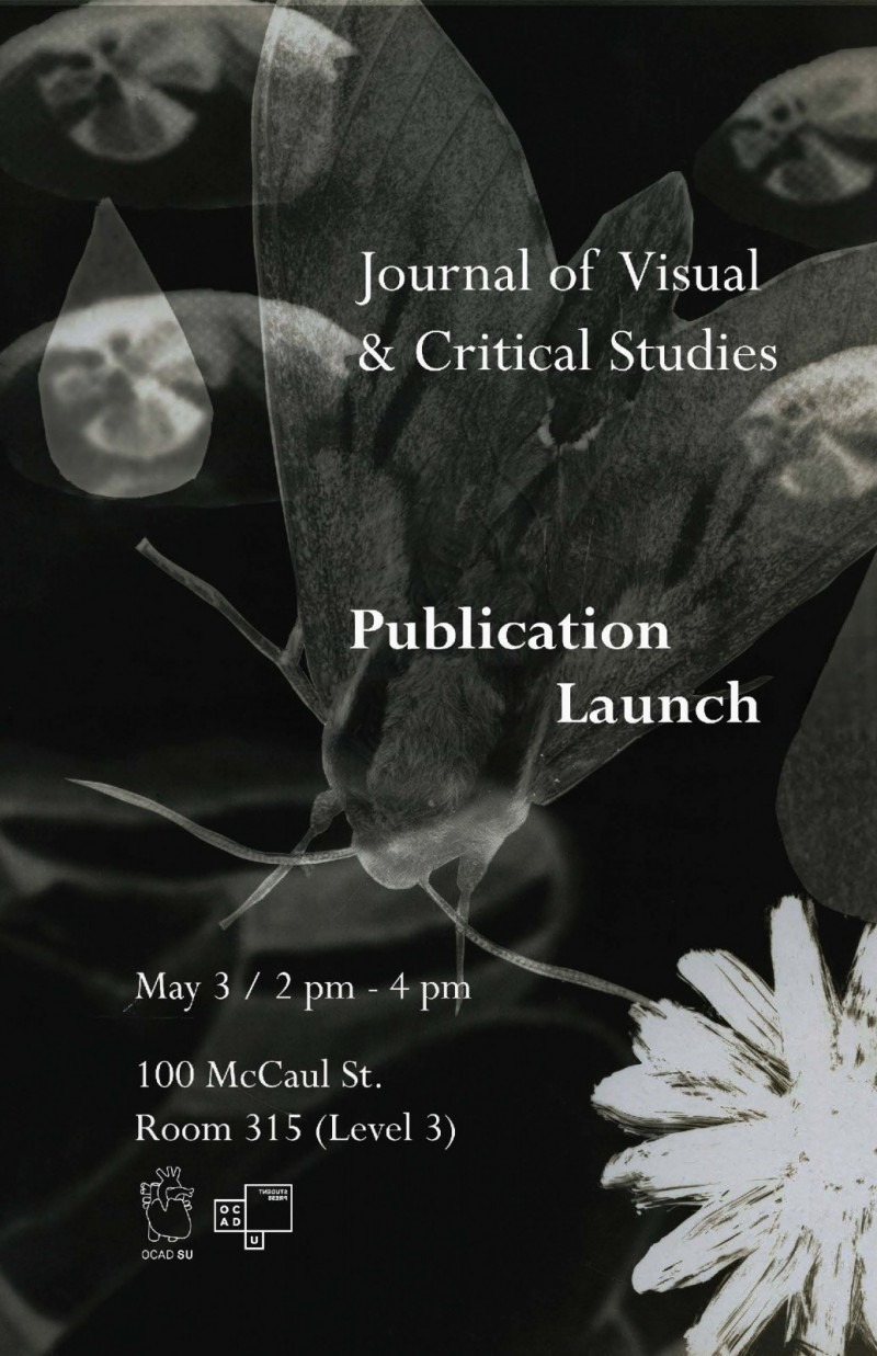 A botanical collage in white on a black background. Text: Journal of Visual and Critical Studies Publication Launch