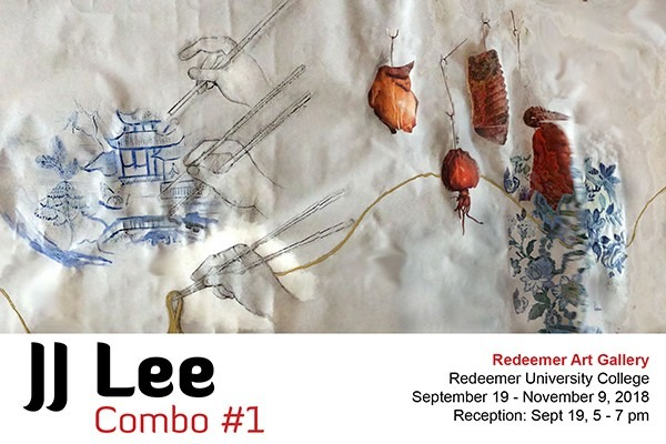 Combo #1, Exhibition poster, embroidery on white fabric