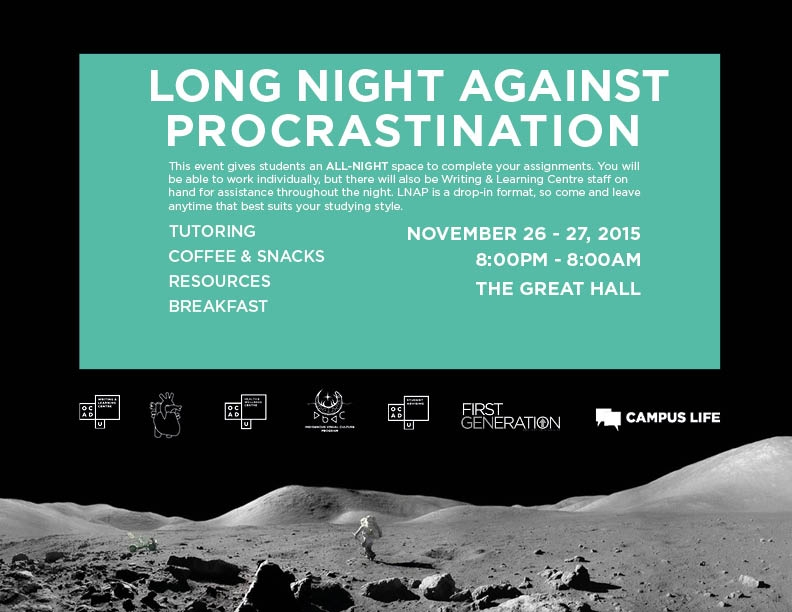 Long Night Against Procrastination poster with event info
