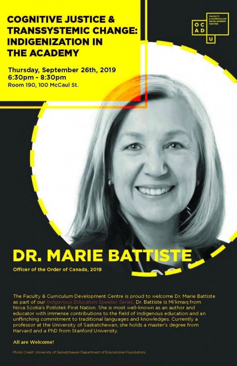 Poster of Dr. Marie Battiste event
