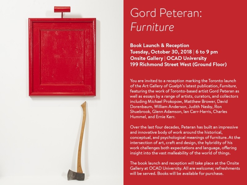 Gord Peteran: Furniture, Book Launch & Reception poster with image of a cabinet door and an axe, text on red background