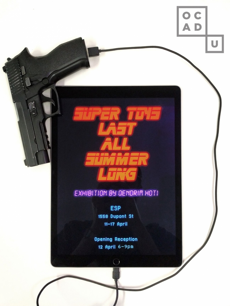 ipad screen displaying game with attached toy gun