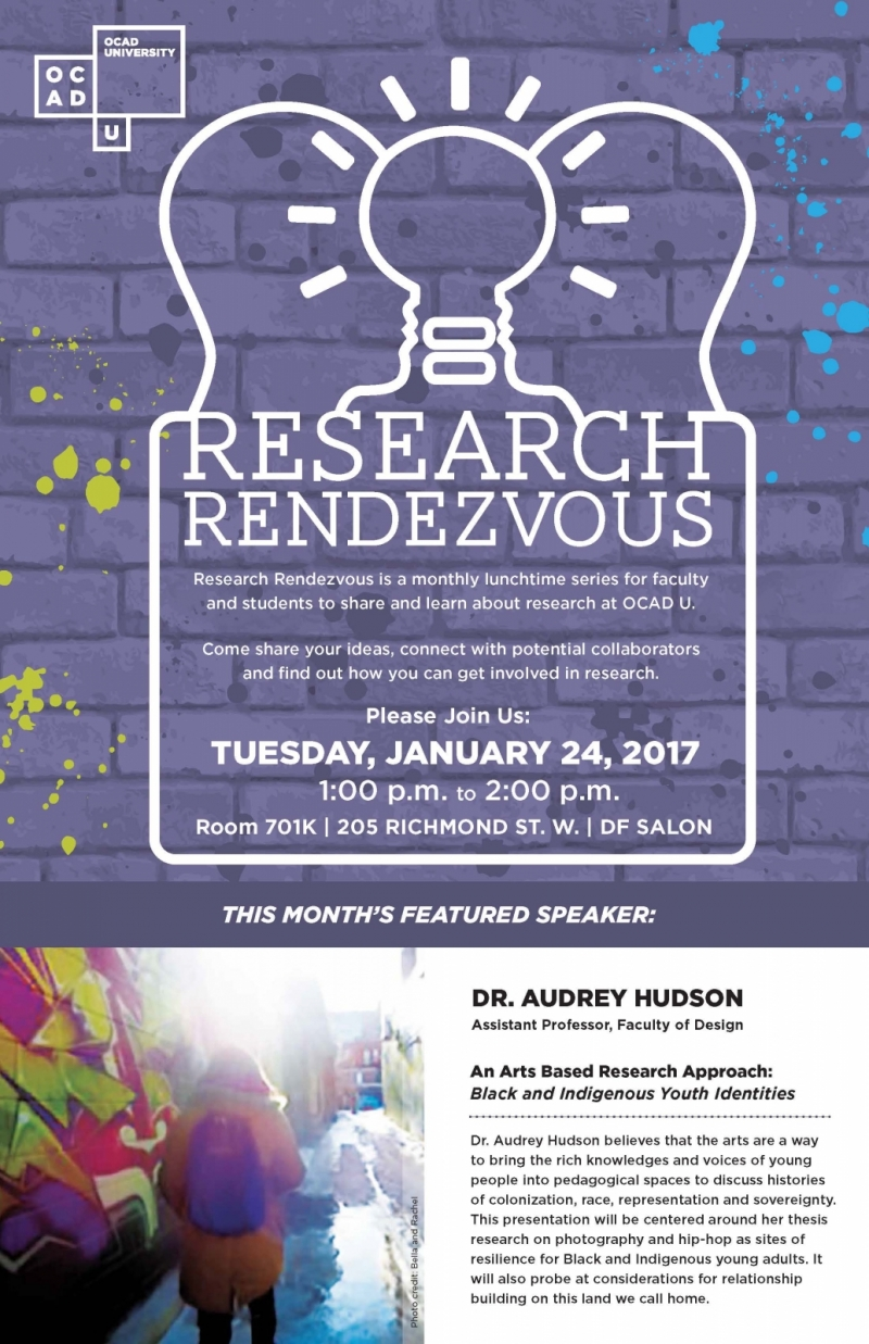 Research Rendezvous is a monthly lunchtime series for faculty and students to share and learn about research at OCAD U.