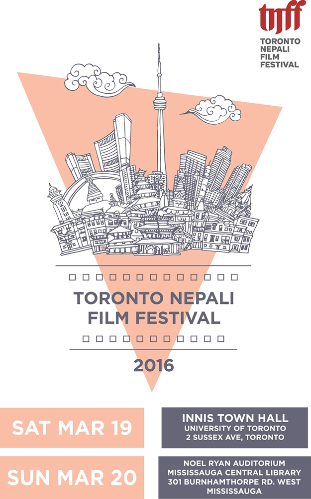Poster for Toronto Nepali Film Festival, inverted pink triangle with wireframe Toronto skyline background
