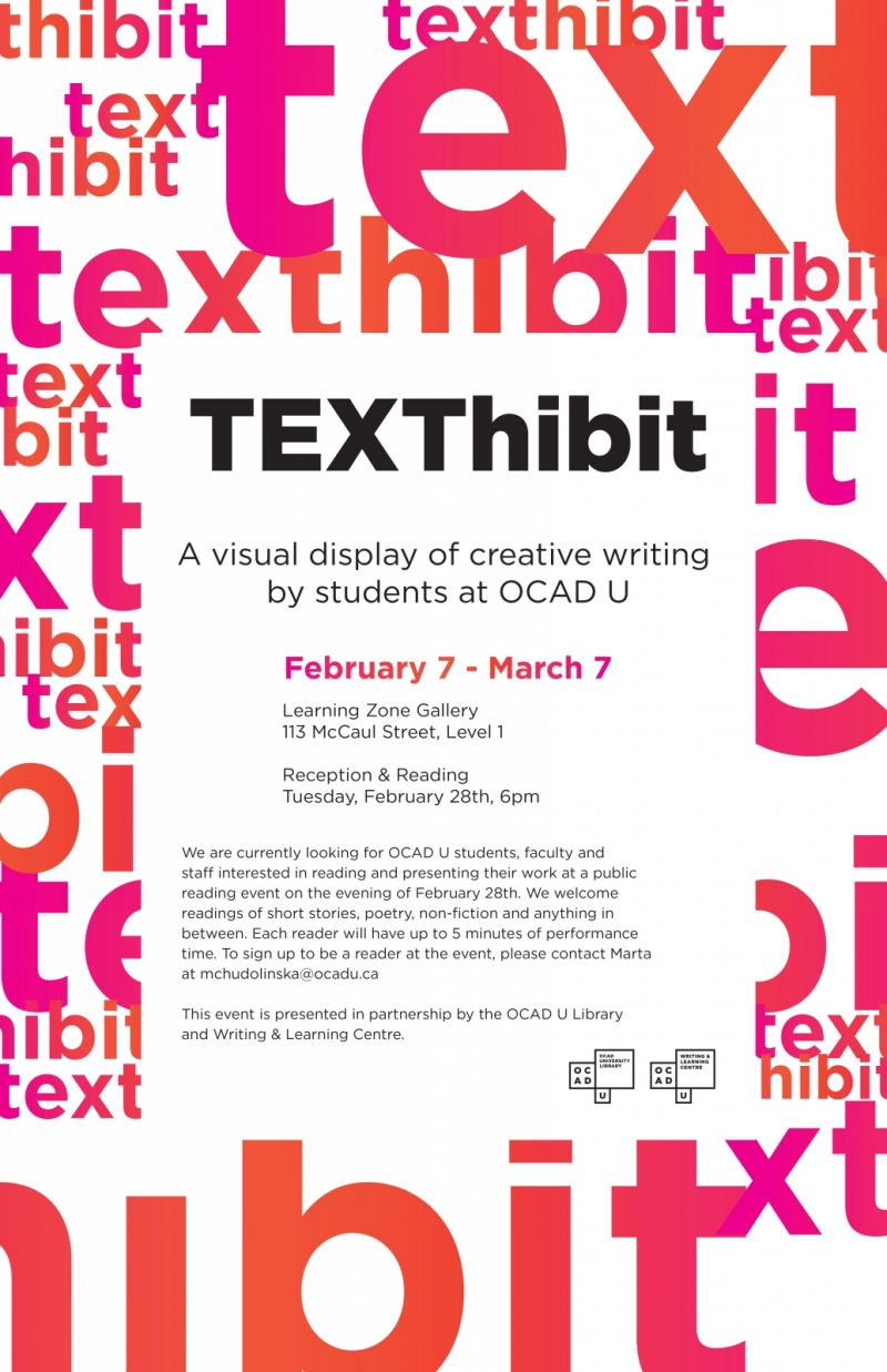 "Poster repeating the info in this event post, surrounded by a design with ""texthibit"" overlapped in various sizes and colours"