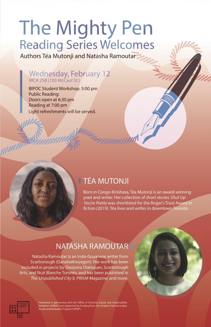 Event poster with photos of authors, Téa Mutonji and Natasha Ramoutar