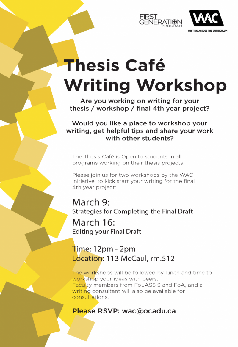 Thesis Cafe March 9th and 16th at 12-2pm